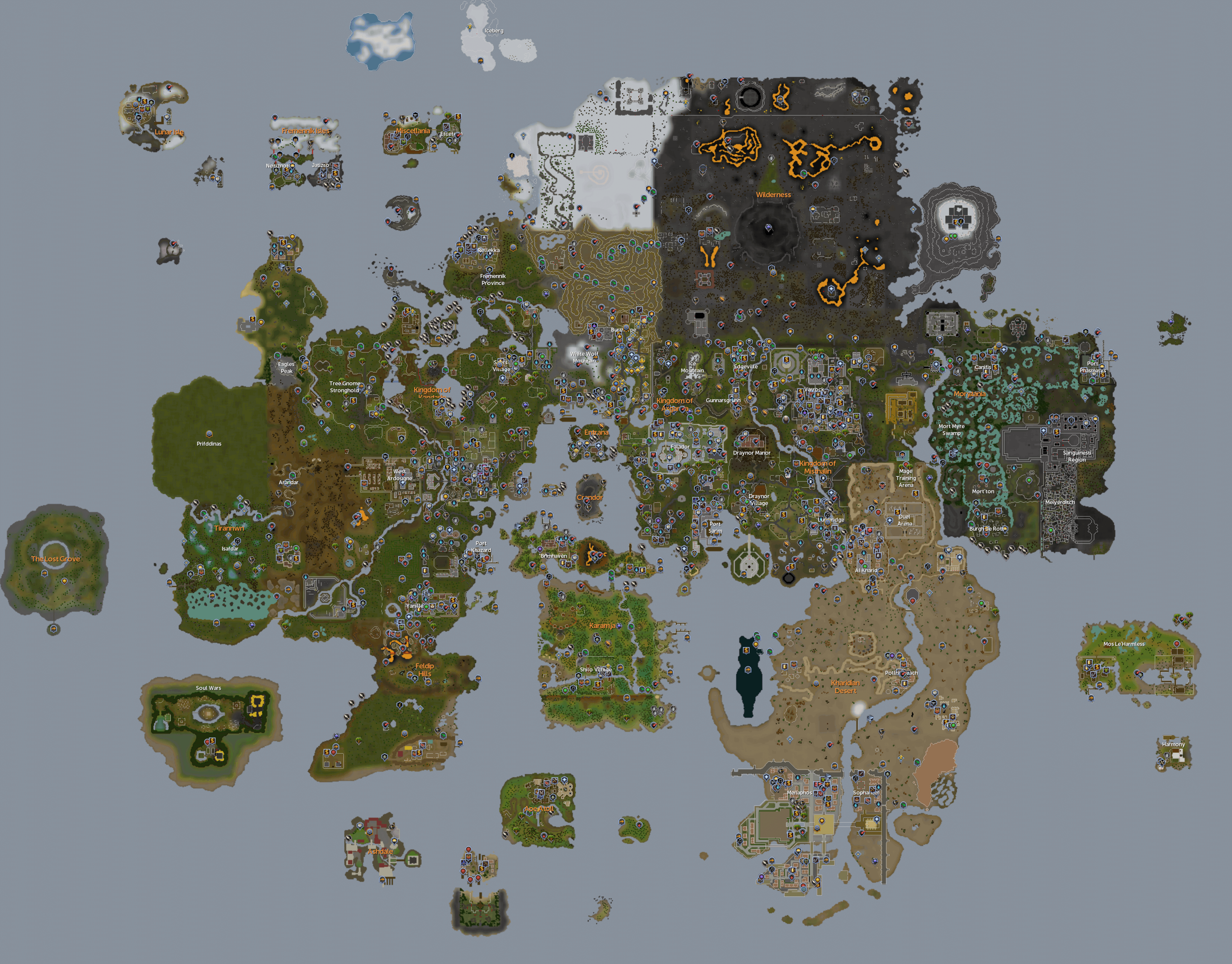The RuneScape World map. Click on a location to view the wiki article.