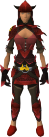 Zamorak dragonhide blessed set equipped (female)