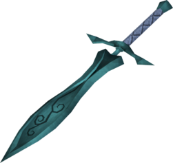 Leaf-bladed sword detail