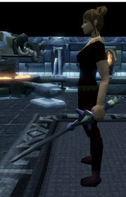 Off-hand fractite longsword equipped