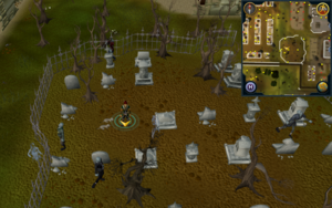 Scan clue West Ardougne inside graveyard
