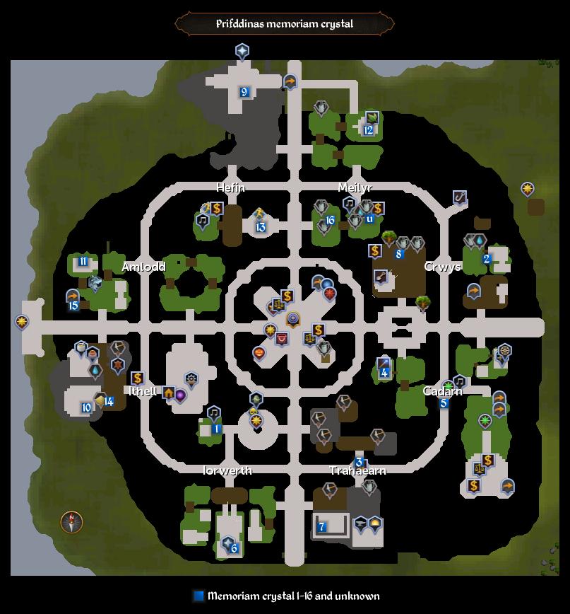Memoriam crystals (Prifddinas) map