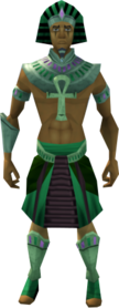 Pharaoh's outfit (green, male) equipped