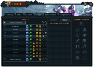 Hero (Presets) interface