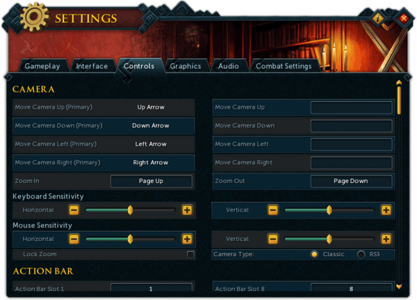 Settings (Controls) interface