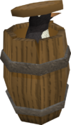 Penguin in barrel