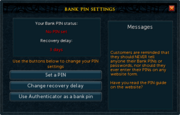 Bank PIN settings