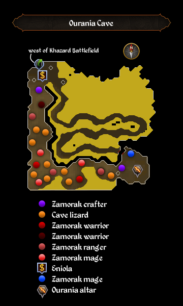 Ourania Cave map