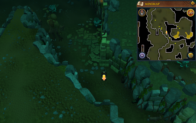 File:Scan clue Brimhaven Dungeon lower level in passage south of west chamber with staircase to upper level.png