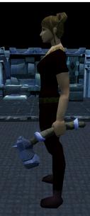 Off-hand argonite warhammer equipped