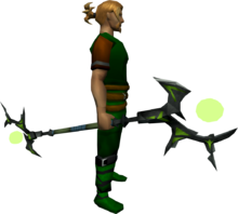 Ahrim's staff equipped