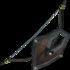Signed oak shieldbow detail