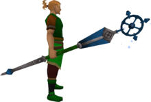 Enhanced ancient staff (blue) equipped