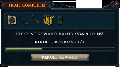 Treasure trail reward interface