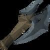 Off-hand gorgonite battleaxe detail