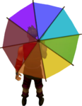 Rainbow parasol equipped