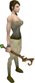 Splitbark wand equipped