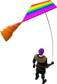 Rainbow kite equipped