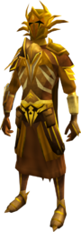 Golden warpriest of Zamorak set equipped