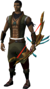 Ornate shieldbow equipped
