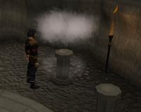 Runes on pillars