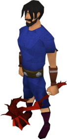 Off-hand dragon warhammer equipped