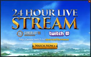 Gameblast 2015 24 hour stream popup