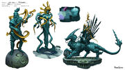 God Wars Dungeon statues concept art