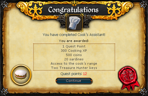 Cook's Assistant reward