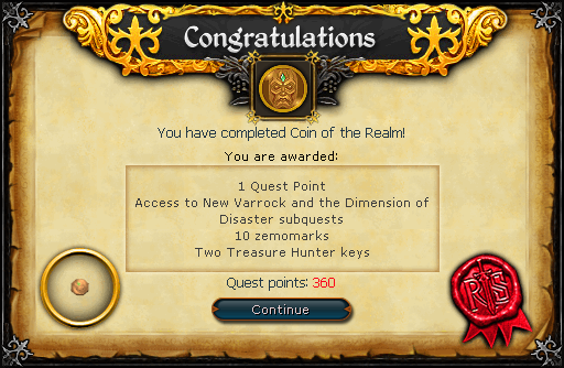 Coin of the Realm reward