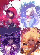 Rough illustrations sketch of Team RWBY by Ein Lee