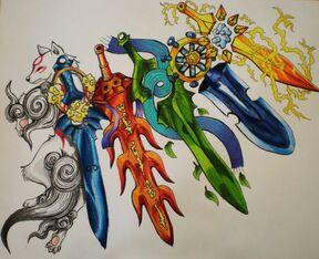 Okami glaives by starbuxx-d36pf6l
