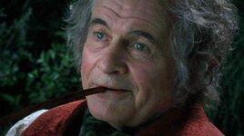 Bilbo smoking a pipe