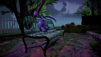 Purple Cabbit on a bench in the Suburbs in Johnny Gat's Simulation in Saints Row IV