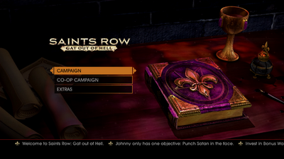 Gat out of Hell main menu - Johnny only has one objective - Punch Satan in the face