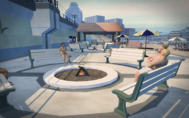 File:Centennial Beach - civilians on benches around fire pit.png