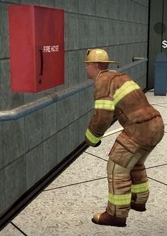 Fireman - yellow helmet - performing inspection