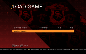Saints Row Gat out of Hell - Main Menu - Campaign - Load Game