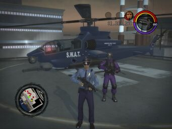 SWAT Tornado on helipad in Saints Row 2
