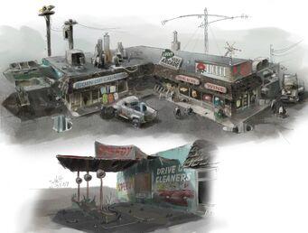 Trailer Park District Concept Art - laundry and liquor store