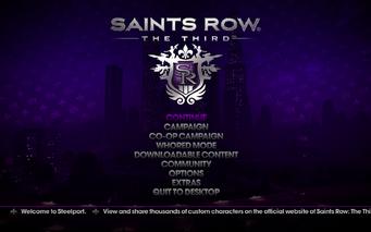 Saints Row The Third - Main Menu