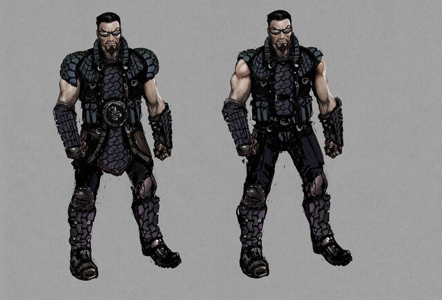 File:Johnny Gat Concept Art - Gat out of Hell Barbarian look - two dark outfits.jpg