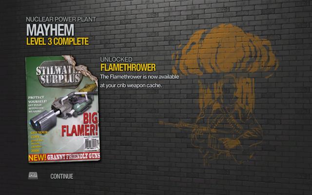 File:Flamethrower unlocked by Mayhem level 3 in Saints Row 2.png