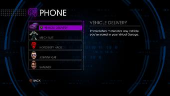 Phone menu in Saints Row IV