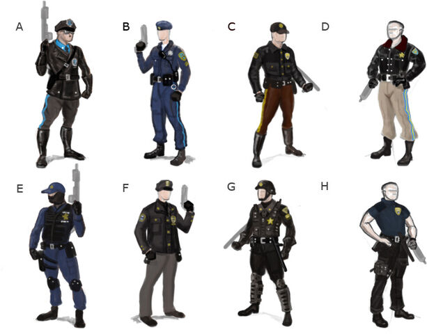 File:Steelport Police concept art - 8 alternate outfits.jpg