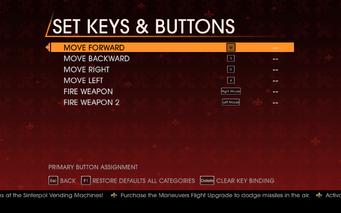 Saints Row Gat out of Hell - Main Menu - Options - Controls - Set Keys & Buttons - Tank