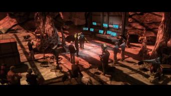 Gangstas in Space ending - wide shot of set