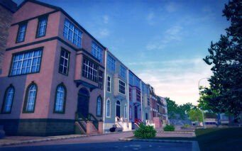 Sommerset in Saints Row 2 - row of houses