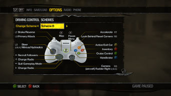 Saints Row 2 Menu - Options - Controls - Driving Control Schemes - Scheme B