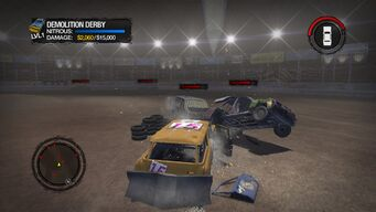 Demo Derby in Saints Row 2 - ramming a vehicle with Rumble